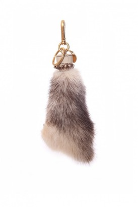 Prada Grey Fur Bag charms