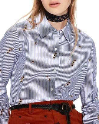 Scotch & Soda Star Embroidered Stripe Button-Down Shirt