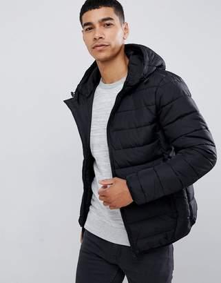 New Look hooded puffer jacket in black