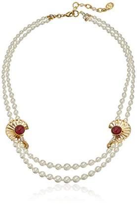 Swarovski Ben-Amun Jewelry Golden Era Crystal Deco Ruby Pearl Strand Necklace Bridal Wedding Anniversary