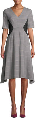 Donna Morgan Short-Sleeve Plaid Colorblock Fit-and-Flare Dress