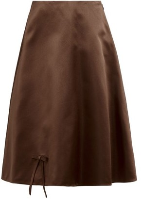 Prada Bow Applique Double Silk Satin Midi Skirt - Womens - Dark Brown