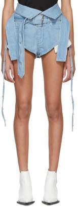 Marques Almeida Blue Denim Crossover Shorts
