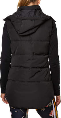 Betsey Johnson Longline Hooded Water-Resistant Puffer Vest