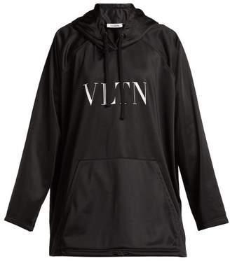 Valentino Logo Print Jersey Hooded Sweatshirt - Womens - Black