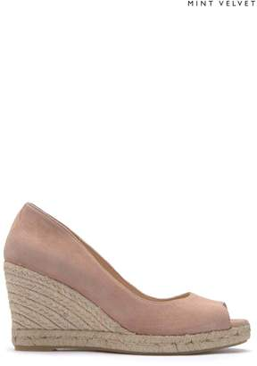 Next Womens Mint Velvet Pink Cleo Suede Peep Toe Wedge Espadrilles