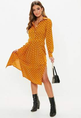 Missguided Mustard Polka Dot Midi Shirt Dress