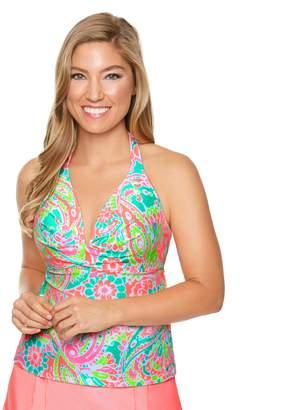 Couture Women's Aqua Paisley Halterkini Top