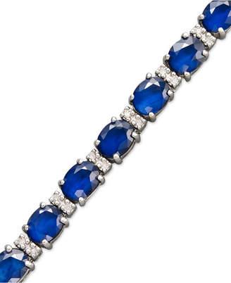 Effy Velvet Bleu by Sapphire (12 ct. t.w.) and Diamond (1/4 ct. t.w.) Tennis Bracelet in 14k White Gold