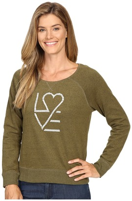 Life is good Love Heart Marled Terry Crew $58 thestylecure.com
