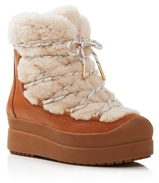 Tory Burch Women's Courtney Round Toe Leather & Shearling Booties