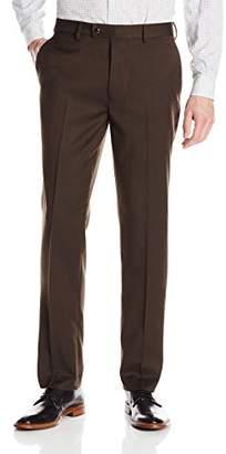 Louis Raphael Rosso Men's Flat Front Easy Care Dress Pant with Hidden Flex Waistband