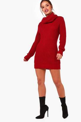 boohoo Petite Amber Oversized Soft Knit Cowl Neck Jumper
