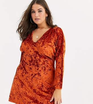 Asos DESIGN Curve long sleeve plunge velvet mini dress