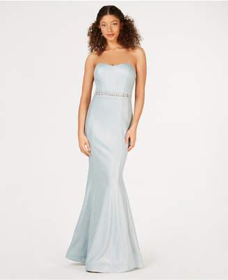Teeze Me Juniors' Strapless Glitter-Knit Mermaid Gown
