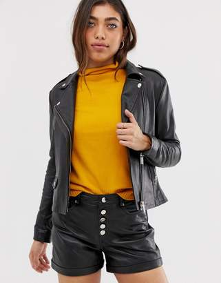 Muu Baa Muubaa fitted leather biker jacket