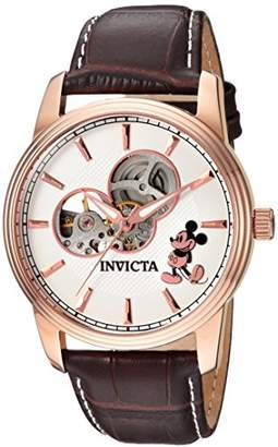 Invicta Men's 'Disney Limited Edition' Automatic Gold and Leather Casual Watch