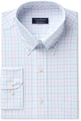 Club Room Men's Classic/Regular Fit Performance Easy-Care Multi-Tattersall Dress Shirt, Created for Macy's