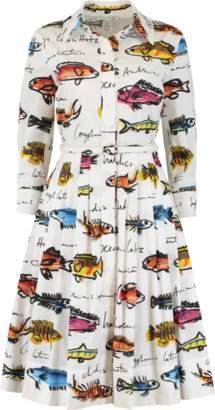 Oscar de la Renta Fish Print Shirt Dress