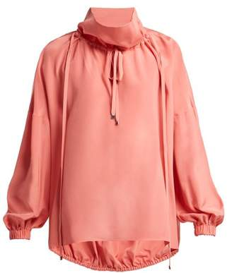 Tibi Drawstring Silk Blouse - Womens - Pink
