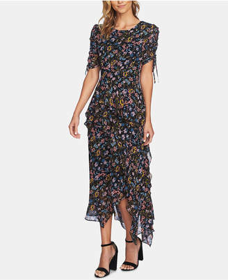 CeCe Printed Ruffled Midi Dress