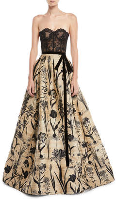 Oscar de la Renta Strapless Lace Bustier Full-Skirt Evening Ball Gown
