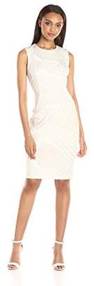 Calvin Klein Women's Round Neck Sleeveless Scuba Sheath Dress