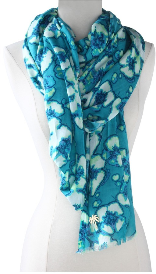 Juicy Couture Washed Hibiscus Print (South Pacific Blue) - Accessories