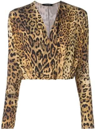 Cushnie plunge leopard print blouse