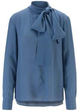Diamond-print blouse in crepe with tie neck