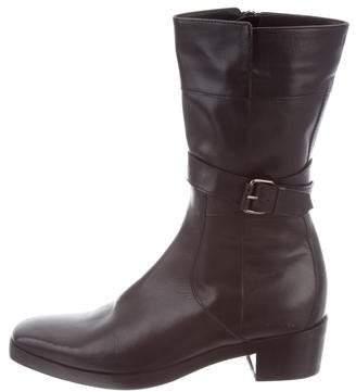 Balenciaga Leather Square-Toe Ankle Boots