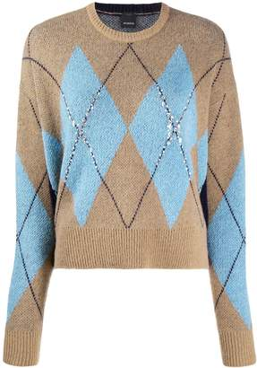 Pinko Argyle sequin knit jumper