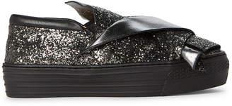 No.21 No. 21 (Toddler/Kids Girls) Anthracite Glitter Platform Sneakers