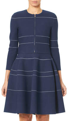Carolina Herrera Zip-Front Mini-Stripe Knit Cardigan