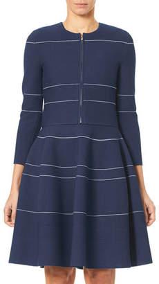 Carolina Herrera Zip-Front Mini-Stripe Knit Cardigan