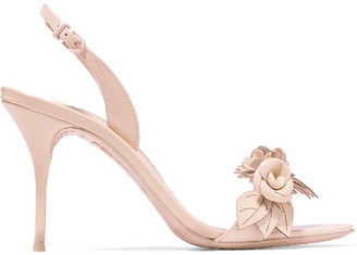 Sophia Webster - Lilico Appliquéd Patent-leather Slingback Sandals - Beige $525 thestylecure.com