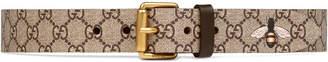 Gucci Bee print GG Supreme belt