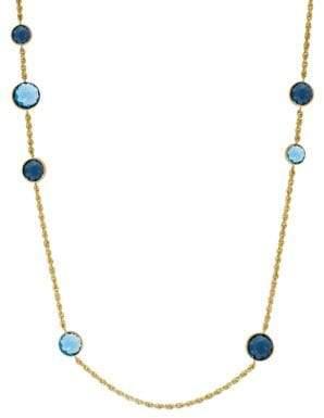 Lord & Taylor Swiss Blue Topaz, London Blue Topaz & 14K Yellow Gold Necklace