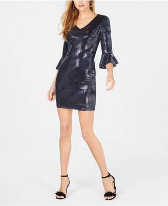 Kensie Sequined Bell-Sleeve Dress