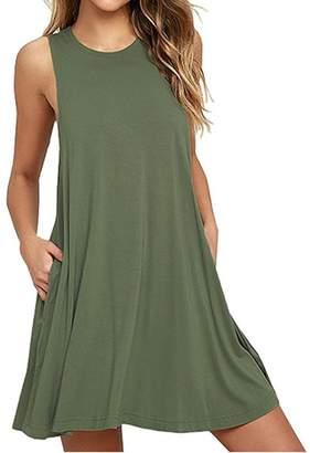 Camisunny Beach Dresses Cover up for Women Summer Mini Dress Cotton Sleeveless Spaghetti Strap Size C