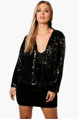 boohoo Plus Power Shoulder Waterfall Sequin Jacket