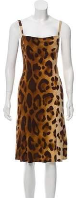 Gianni Versace Vintage Leopard Print Midi Dress