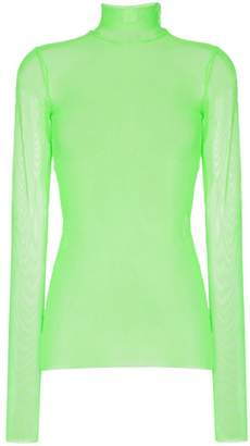 We11done turtleneck long sleeved mesh T-shirt
