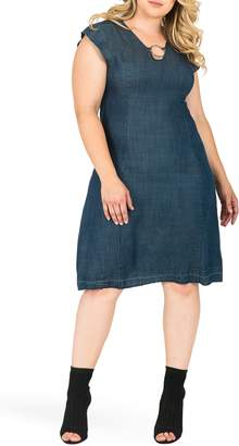 6931a514b38 Standards   Practices Belinda Ring Neck A-Line Denim Dress