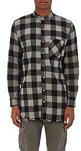 NSF Men's Raw-Edge Buffalo-Checked Cotton Shirt - Black Size S