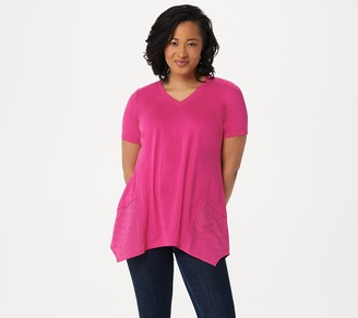 Logo By Lori Goldstein LOGO by Lori Goldstein Cotton Modal Top with Eyelet Godets
