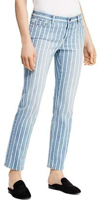 Ralph Lauren Estate Stripe Straight Ankle Jeans in Blue