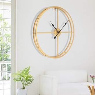 Kadell 18/24inch Oversize Large 3D Vintage Wall Clock Quartz Clock Round Metal Roman Numbers Clock