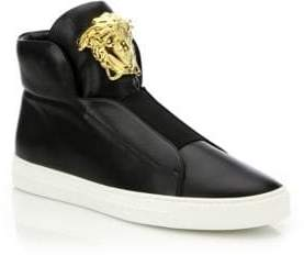 Versace First Idol Smooth Leather Slip-On Sneakers