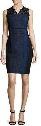Elie Tahari Cassandra Striped Tweed Sheath Dress, Black Multi $398 thestylecure.com